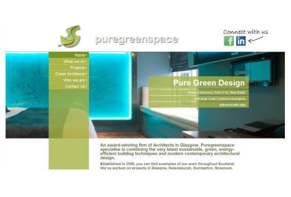 Business Web Design for Pure Green Space Architects in Glasgow