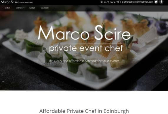 Affordable bespoke web design for Edinburgh chef